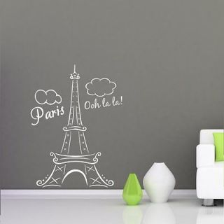 EIFFEL TOWER PARIS FRANCE OOH LA LA Clouds Vinyl Wall Decal Decor Art