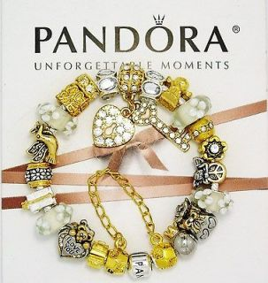 Silver Pandora Charm Bracelet Gold White Flowers Angel Bear