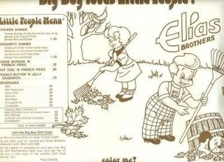 Elias Brothers Big Boy Restaurant Kid Color Me Menu Placemat 1977