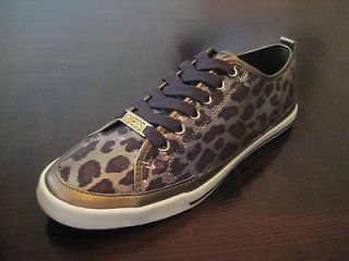 GUESS GINROE ~ Brown, Gold & Bronze Leopard Print Womens Sneakers