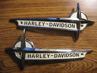 1961 62 HARLEY DAVIDSON GAS TANK EMBLEMS NAMEPLATE w/MOUNTING KIT