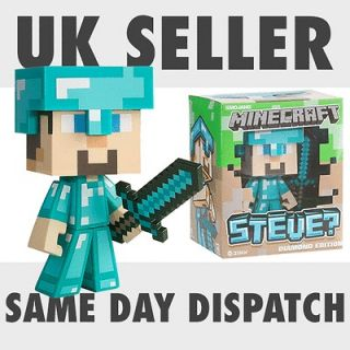 New Minecraft Diamond Steve Vinyl Toy with removable Sword