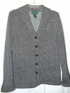 RALPH LAUREN Knit Sweater Jacket wood buttons HERRINGBONE Black