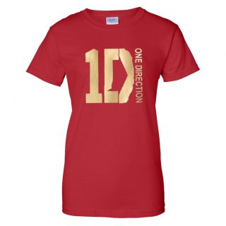 New ONE DIRECTION Gold Logo Ladies T shirt 1D British Boys Band Fan S