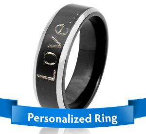 NEW PERSONALIZED SILVER COLOR STAINLESS STEEL COMFORT FIT PROMISE RING