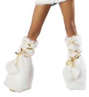 Josie J Valentine Leg Warmers White Gold Pom Furry Boot Covers Rave
