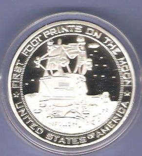 APOLLO 11 SPACE SHUTTLE SILVER COMMEMORATIVE CHALLENGE COIN NEW