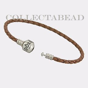 Newly listed Authentic Pandora Silver Brown Leather 6.9 Bracelet
