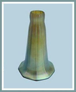 Gold Aurene STANDARD LILY Iridescent Art Glass Lamp Shade HAND BLOWN