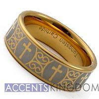 8MM MENS TUNGSTEN CARBIDE GOLD TONE CROSS WEDDING RING