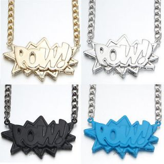 Hip Hop Big Large Size POW Pendant Necklace Long Chain