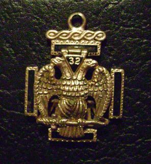 MASONIC WATCH FOB ORNATE 14K GOLD TWO HEADED EAGLE 19th CENTURY