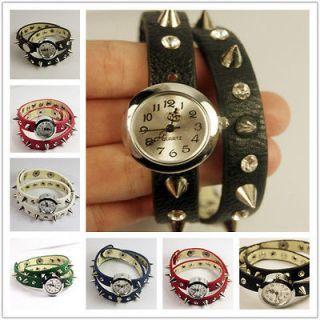 Fashion Punk Gothic Cuff Leather Strap Bracelet Wrist Watch Quartz