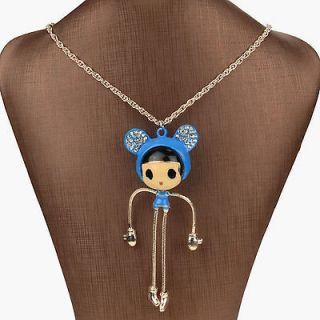 Enamel Crystal 14k Gold Plated Cool 3D Big Glass Girl Necklace Pendant