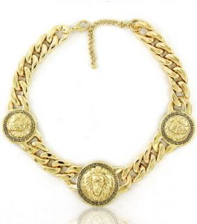 Lion Head Medallion Trio Gold Tone Chain Statement Necklace Latest
