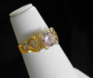 Russian CZ Pink Tourmaline 14k gold overlay heart mother/daughter Ring