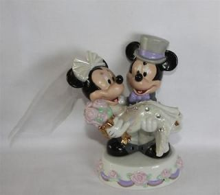 & Minnie Mouse Wedding Cake Topper Rhinestones Gold Iridescent NWT