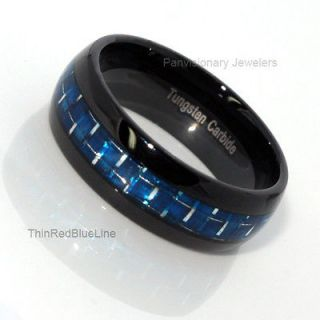 Thin Blue Line Black & Blue Tungsten Carbide Ring 8MM Dome Blue Fiber