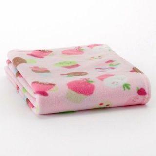 New Girls Infant Baby PINK CUPCAKE Plush Soft Fleece Throw Blanket