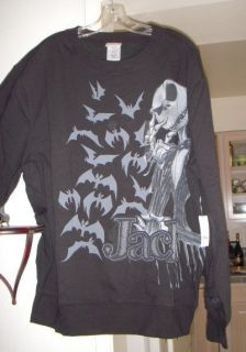 Jack Skellington & Bats Black Sweatshirt Disney Nightmare B4 Christmas