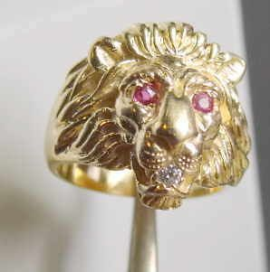 Unisex 18k Solid Gold Lion Head Ring Ruby Eyes Diamond Mouth 15gr Size