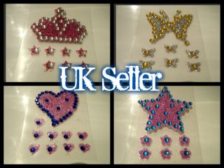 BODY ART TATTOOS VAJAZZLE GEL STICKERS DIAMONTE FLOWERS HEARTS