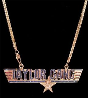 GOLD ICED OUT WIZ KHALIFA TAYLOR GANG AIR FORCE PENDANT CHAIN HIP HOP