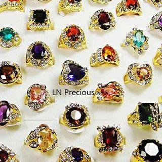 wholesale lots 25pcs Rhinestone Cubic Zirconia Gold rings free ship
