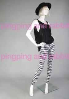 Houndstooth Spandex Leggings Pants Tights Black and White
