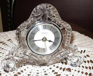 Crystal/Glass Mantel Clock Linden 5  tall 6  wide
