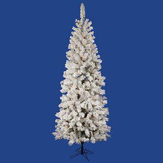 FT HEAVY FLOCKED ~LED WARM WHITE LIGHTS SLIM PENCIL CHRISTMAS TREE