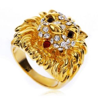 Lion Head Cocktail Fashion Ring 18K Yellow Gold GP Swarovski Crystal