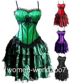 ColorsNew Satin Corset Tops & Mini Skirt & G string Dress S M L