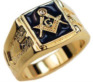 Masonic Mens Ring Blue cz ring Lodge 14K gold overlay size 14 BEA