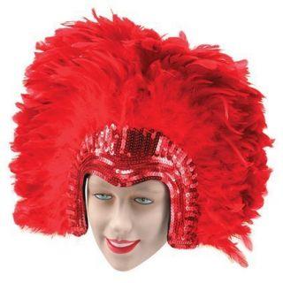 Mardi Gras Notting Hill Carnival Festival Feather Headdress RED