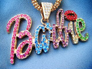 Barbie Multi Color Rhinestone Goldtone Necklace Iced out Nicki Minaj