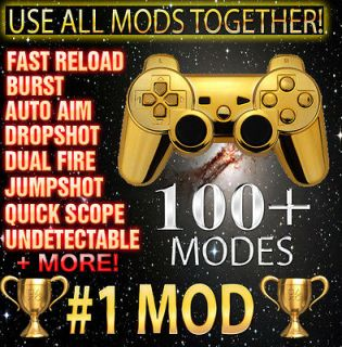 Gold PS3 10000 Mode Jitter Rapid Fire Modded Controller Black Ops 2