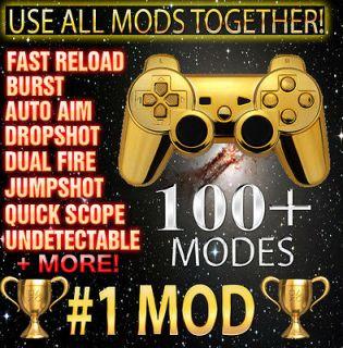 Gold PS3 10000 Mode Jitter Rapid Fire Modded Controller Black Ops 2