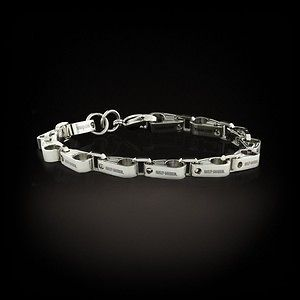 Womens HARLEY DAVIDSON Sterling Chain Link Bracelet w Safety Chain