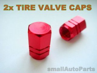 Newly listed (2) RED ALUMiNUM Tire/Wheel stem Valve metal CAPS for