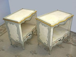 Pair French Provincial Gold Gilt NIGHT STANDS Italian Style Painted