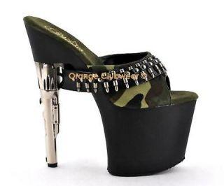 PLEASER Bondgirl 701 5 Camo Womens Gun Heel Slides