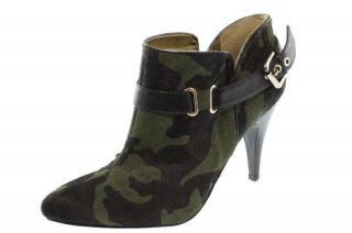 Nine West NEW Sappheir Green Camouflage Real Fur Belted Booties Heels