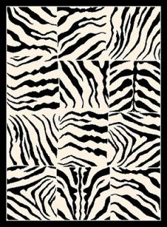 ZEBRA SKIN PRINT area rug 8X11 CONTEMPORARY MODERN NEW  Actual 7 7