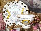Yellow & Gold Beaded Footed Pierced Royal Sealy China Tea Cup and