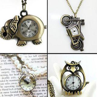 21 Design Owl Key Antique Bronze tone Necklace Chain Pendant Quartz