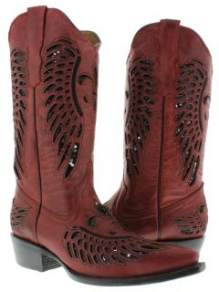 Womens ladies red leather sequins cowboy boots western riding biker