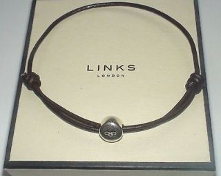 GENUINE LINKS OF LONDON MENS Silver Bead Brown Friendship Bracelet