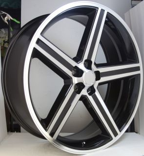 BLACK MACHINED 5 Lug Wheel SET 24x10 IROCS 5x115 Classic CHEVY RIMS