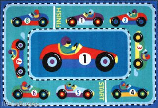 3x5 Rug Kid VROOM Race Car Play Time Formula 1 Rally Mat Road 39x58